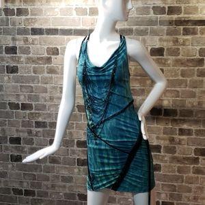 Salvage blue cowl neck open back mini dress
